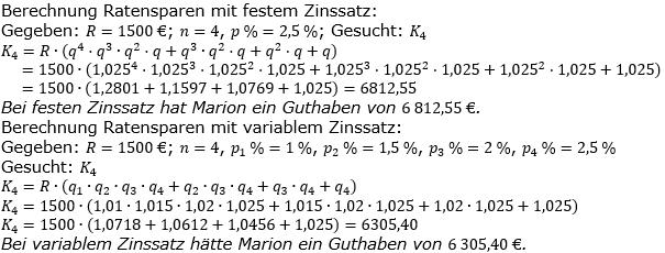 Ratensparen variabler Zinssatz Lösungen zum Aufgabensatz 4 Blatt 2/12Fortgeschritten/© by www.fit-in-mathe-online.de