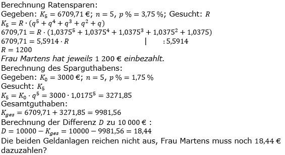Ratensparen variabler Zinssatz Lösungen zum Aufgabensatz 6 Blatt 2/12Fortgeschritten/© by www.fit-in-mathe-online.de