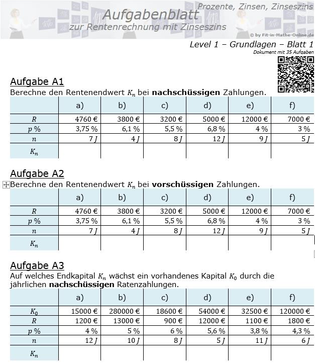 Rentenrechnung mit Zinseszinsen Aufgabenblatt 1/1 / © by Fit-in-Mathe-Online.de