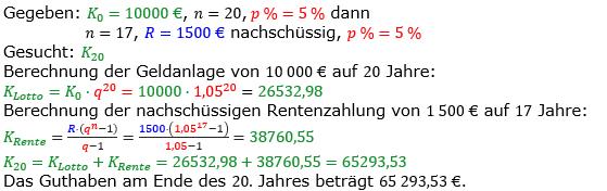 Rentenrechnung Lösungen zum Aufgabensatz 10 Blatt 1/1 Grundlagen/© by www.fit-in-mathe-online.de