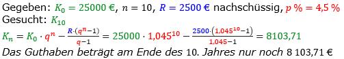 Rentenrechnung Lösungen zum Aufgabensatz 11 Blatt 1/1 Grundlagen/© by www.fit-in-mathe-online.de