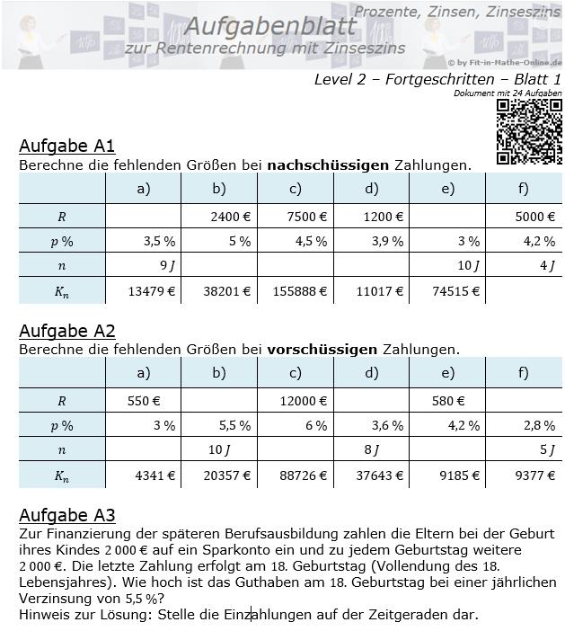 Rentenrechnung mit Zinseszinsen Aufgabenblatt 2/1 / © by Fit-in-Mathe-Online.de