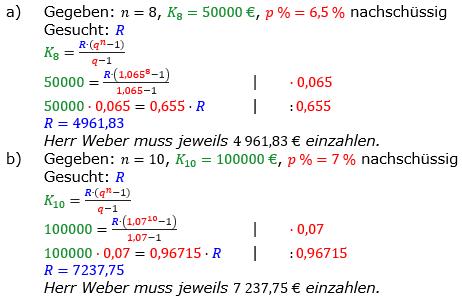 Rentenrechnung Lösungen zum Aufgabensatz 4 Blatt 2/1 Fortgeschritten/© by www.fit-in-mathe-online.de