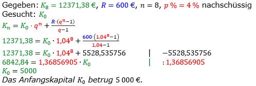 Rentenrechnung Lösungen zum Aufgabensatz 13 Blatt 2/1 Fortgeschritten/© by www.fit-in-mathe-online.de