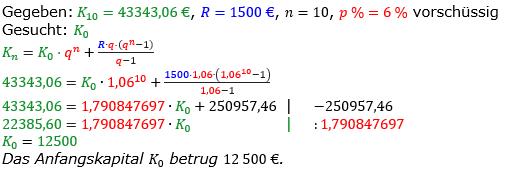 Rentenrechnung Lösungen zum Aufgabensatz 14 Blatt 2/1 Fortgeschritten/© by www.fit-in-mathe-online.de