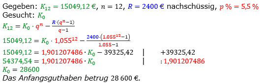 Rentenrechnung Lösungen zum Aufgabensatz 1 Blatt 2/2 Fortgeschritten/© by www.fit-in-mathe-online.de