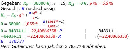 Rentenrechnung Lösungen zum Aufgabensatz 5 Blatt 2/2 Fortgeschritten/© by www.fit-in-mathe-online.de