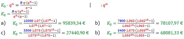Rentenrechnung Lösungen zum Aufgabensatz 8 Blatt 2/2 Fortgeschritten/© by www.fit-in-mathe-online.de