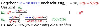 Rentenrechnung Lösungen zum Aufgabensatz 9 Blatt 2/2 Fortgeschritten/© by www.fit-in-mathe-online.de