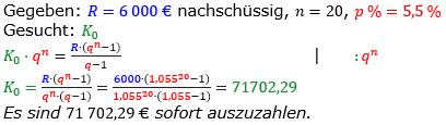 Rentenrechnung Lösungen zum Aufgabensatz 11 Blatt 2/2 Fortgeschritten/© by www.fit-in-mathe-online.de