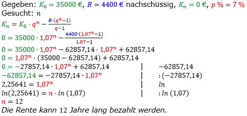 Rentenrechnung Lösungen zum Aufgabensatz 13 Blatt 2/2 Fortgeschritten/© by www.fit-in-mathe-online.de