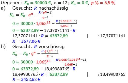 Rentenrechnung Lösungen zum Aufgabensatz 15 Blatt 2/2 Fortgeschritten/© by www.fit-in-mathe-online.de