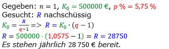 Rentenrechnung Lösungen zum Aufgabensatz 5 Blatt 2/3 Fortgeschritten/© by www.fit-in-mathe-online.de