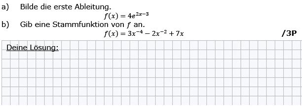 Bilde die erste Ableitung, gib eine Stammfunktion von f an (Grafik g8k12/W01A0101 im Aufgabensatz 1 Wochenblatt 01 Kursstufe 2 Prüfungsvorbereitung Abitur) /© by www.fit-in-mathe-online.de)