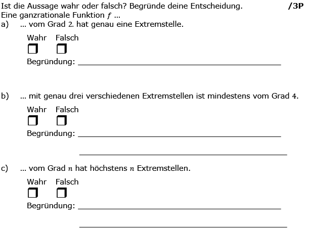 Ist die Aussage wahr oder falsch? Begründe deine Entscheidung. (Grafik g8k12/W01A0301 im Aufgabensatz 3 Wochenblatt 01 Kursstufe 2 Prüfungsvorbereitung Abitur) /© by www.fit-in-mathe-online.de)