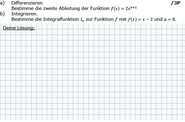 Bestimme die zweite Ableitung, bestimme eine Integralfunktion. (Grafik g8k12/W02A0101 im Aufgabensatz 1 Wochenblatt 02 Kursstufe 2 Prüfungsvorbereitung Abitur) /© by www.fit-in-mathe-online.de)