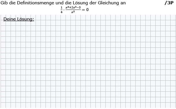 Gib die Definitions- und die Lösungsmenge der Gleichung an. (Grafik g8k12/W02A0202 im Aufgabensatz 2 Wochenblatt 02 Kursstufe 2 Prüfungsvorbereitung Abitur) /© by www.fit-in-mathe-online.de)
