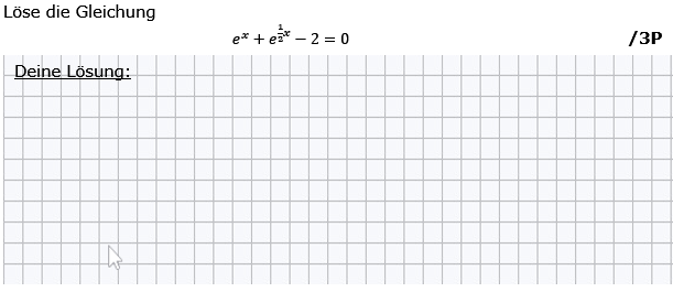 Löse die Gleichung. (Grafik g8k12/W03A0201 im Aufgabensatz 2 Wochenblatt 03 Kursstufe 2 Prüfungsvorbereitung Abitur) /© by www.fit-in-mathe-online.de)