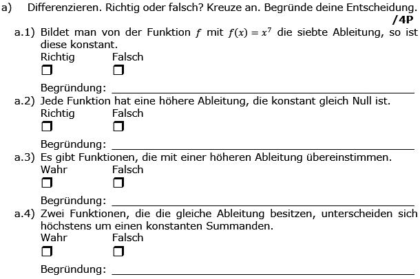 Differenzieren. Richtig oder falsch? (Grafik g8k12/W04A0101 im Aufgabensatz 1 Wochenblatt 04 Kursstufe 2 Prüfungsvorbereitung Abitur) /© by www.fit-in-mathe-online.de)