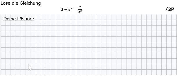 Löse die Gleichung. (Grafik g8k12/W04A0201 im Aufgabensatz 2 Wochenblatt 04 Kursstufe 2 Prüfungsvorbereitung Abitur) /© by www.fit-in-mathe-online.de)