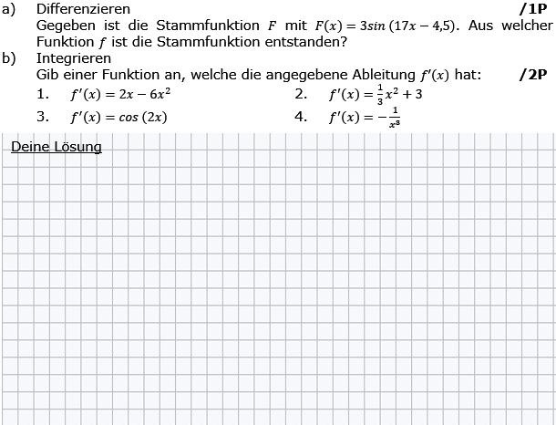 Gegeben ist die Stammfunktion F mit F(x)=3sin(17x-4,5). Aus welcher Funktion f ist die Stammfunktion entstanden? (Grafik g8k12/W07A0101 im Aufgabensatz 1 Wochenblatt 07 Kursstufe 2 Prüfungsvorbereitung Abitur) /© by www.fit-in-mathe-online.de)