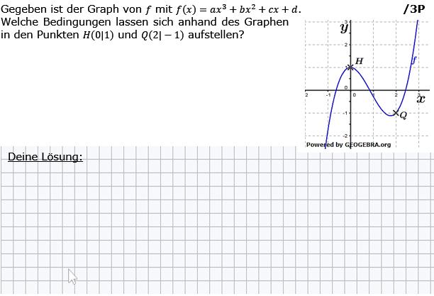 Gegeben ist der Graph von f mit f(x)=ax^3+bx^2+cx+d. (Grafik g8k12/W09A0302 im Aufgabensatz 3 Wochenblatt 09 Kursstufe 2 Prüfungsvorbereitung Abitur) /© by www.fit-in-mathe-online.de)