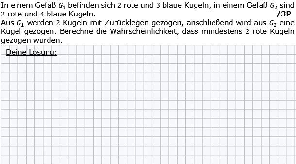 In einem Gefäß G1 befinden sich 2 rote und 3 blaue Kugeln. In einem Gefäß G2 siond 2 rote und 4 blaue Kugeln. (Grafik g8k12/W09A0501 im Aufgabensatz 5 Wochenblatt 09 Kursstufe 2 Prüfungsvorbereitung Abitur) /© by www.fit-in-mathe-online.de)
