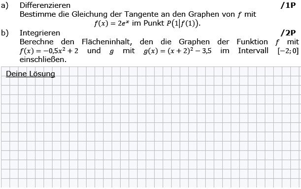 Bestimme die Gleichung der Tangente an den Graphen von f. (Grafik g8k12/W11A0101 im Aufgabensatz 1 Wochenblatt 11 Kursstufe 2 Prüfungsvorbereitung Abitur) /© by www.fit-in-mathe-online.de)