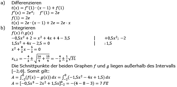 Aufgabensatz 1 Wochenblatt 11 Kursstufe 2 Prüfungsvorbereitung Abitur Lösung Bild g8k12/W11A01L01/© by www.fit-in-mathe-online.de