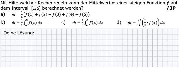 Mit Hilfe welcher Rechenregeln kann der Mittelwert m einer steigenden Funktion f auf dem Intervall I=[1;5] berechnet werden? (Grafik g8k12/W11A0301 im Aufgabensatz 3 Wochenblatt 11 Kursstufe 2 Prüfungsvorbereitung Abitur) /© by www.fit-in-mathe-online.de)