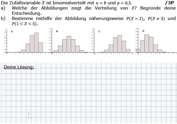 Die Zufallsvariable X ist binomialverteilt mit n=8 und p=0,3. (Grafik g8k12/W11A0501 im Aufgabensatz 5 Wochenblatt 11 Kursstufe 2 Prüfungsvorbereitung Abitur) /© by www.fit-in-mathe-online.de)
