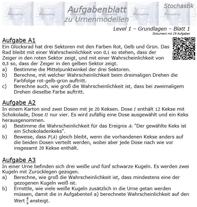 Stochastik Urnenmodelle Aufgabenblatt Grundlagen 1/1 / © by Fit-in-Mathe-Online.de