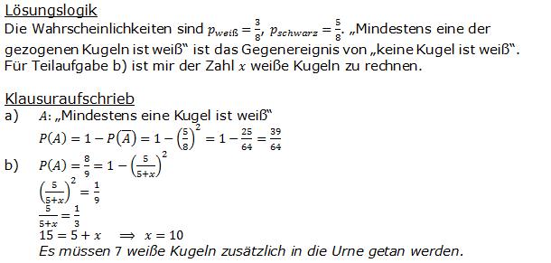 Urnenmodelle in der Stochastik Lösungen zum Aufgabensatz 3 Blatt 1/1 Grundlagen Bild 1 /© by www.fit-in-mathe-online.de)
