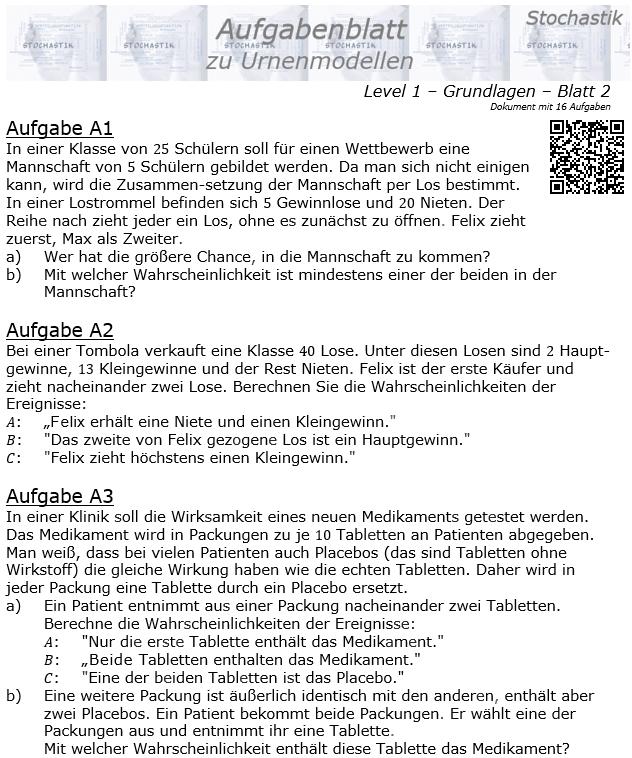 Stochastik Urnenmodelle Aufgabenblatt Grundlagen 1/2 / © by Fit-in-Mathe-Online.de