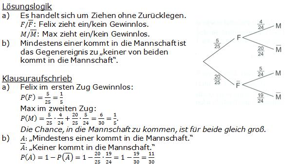 Stochastik Urnenmodelle Lösungen zum Aufgabensatz 11 Blatt 1/2 Grundlagen Bild 1/© by www.fit-in-mathe-online.de