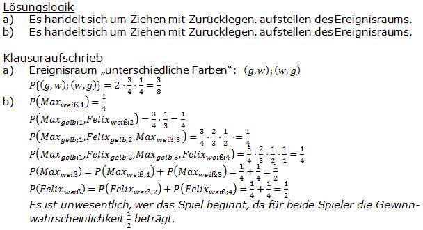 Stochastik Urnenmodelle Lösungen zum Aufgabensatz 14 Blatt 1/2 Grundlagen Bild A1214L01/© by www.fit-in-mathe-online.de