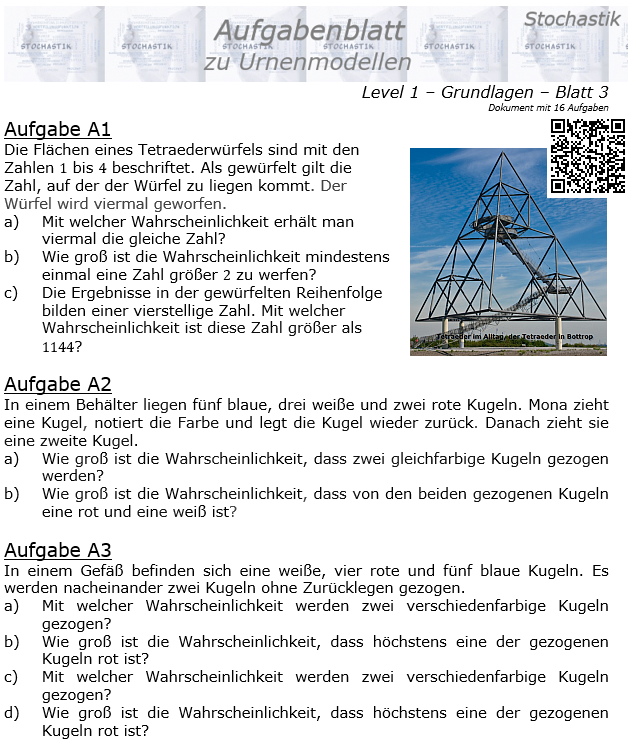 Stochastik Urnenmodelle Aufgabenblatt Grundlagen 1/3 / © by Fit-in-Mathe-Online.de