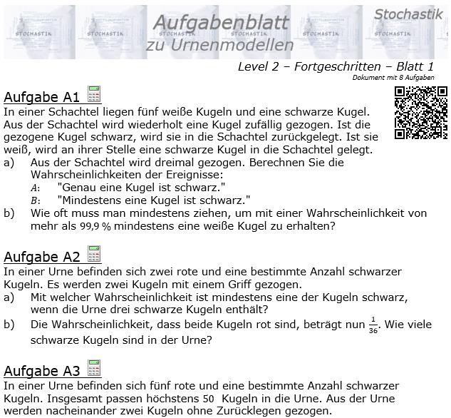 Stochastik Urnenmodelle Aufgabenblatt Fortgeschritten 2/1 / © by Fit-in-Mathe-Online.de