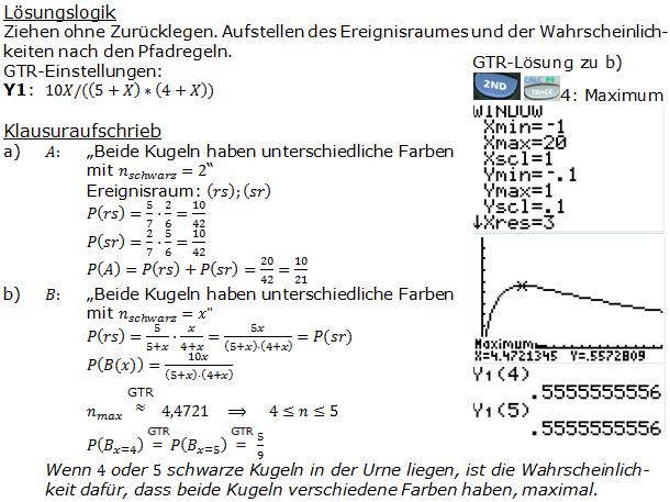Urnenmodelle in der Stochastik Lösungen zum Aufgabensatz 3 Blatt 2/1 Fortgeschritten Bild 1 /© by www.fit-in-mathe-online.de)