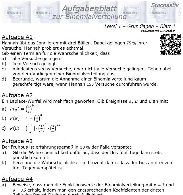 Binomialverteilung Aufgabenblatt Level 1 / Blatt 1