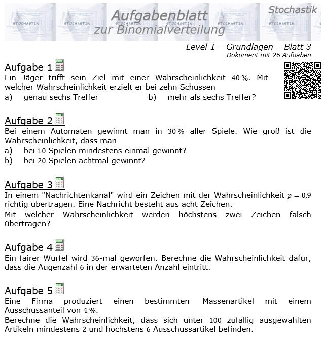 Binomialverteilung Aufgabenblatt Level 1 / Blatt 3