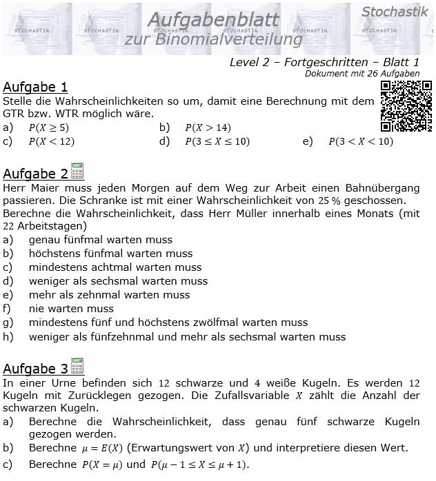 Binomialverteilung Aufgabenblatt Fortgeschrittten Level 2 / Blatt 1