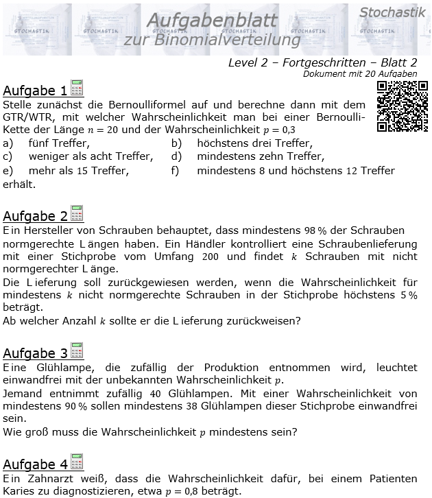 Binomialverteilung Aufgabenblatt Fortgeschrittten Level 2 / Blatt 2