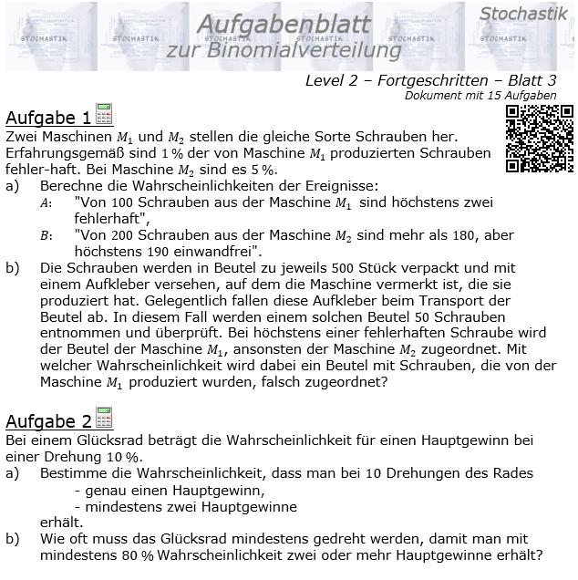 Binomialverteilung Aufgabenblatt Fortgeschrittten Level 2 / Blatt 3