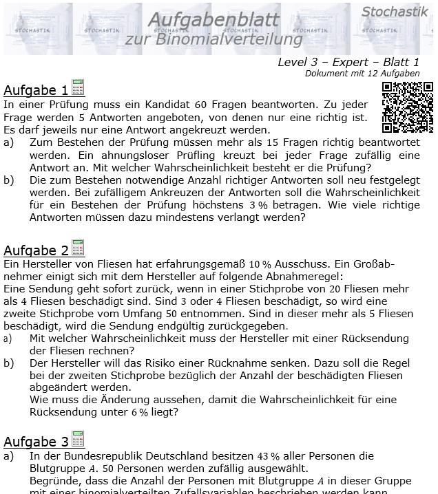 Binomialverteilung Aufgabenblatt Expert Level 3 / Blatt 1