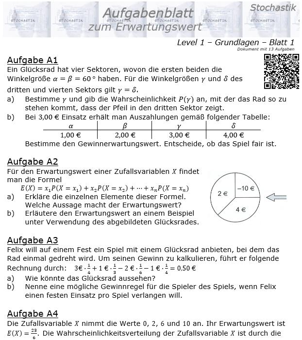 Erwartungswert Aufgabenblatt Level 1 / Blatt 1