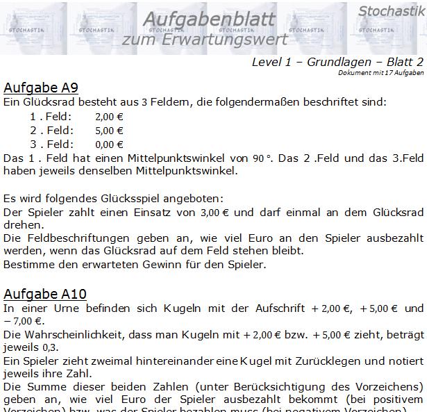 Erwartungswert Aufgabenblatt Level 1 / Blatt 2