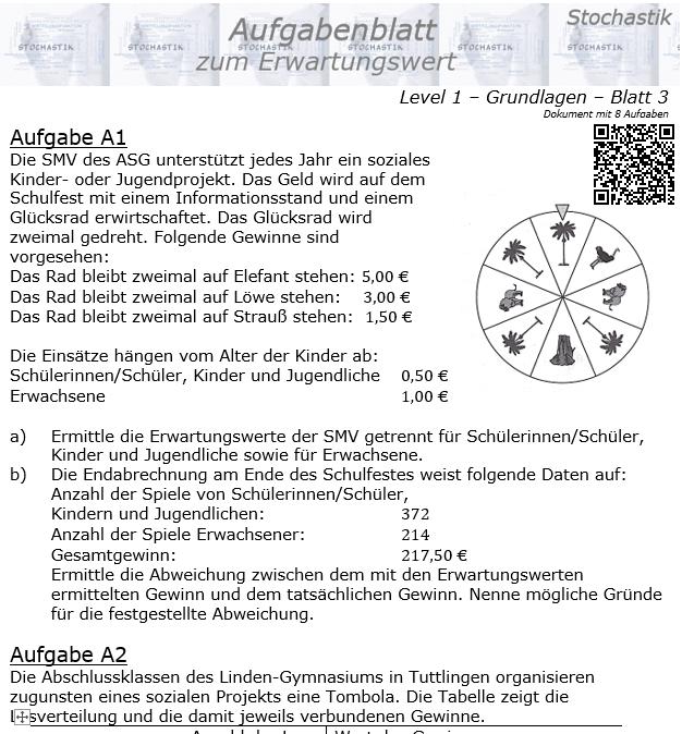 Erwartungswert Aufgabenblatt Level 1 / Blatt 3