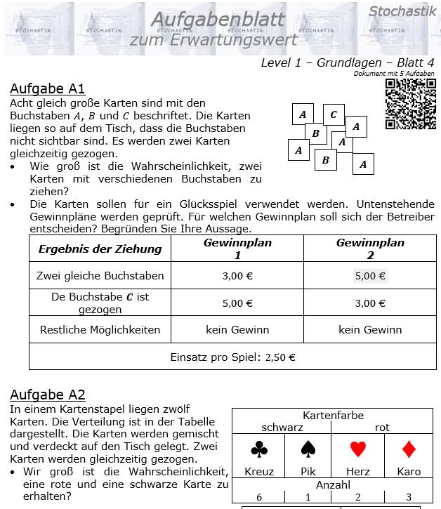 Erwartungswert Aufgabenblatt Level 1 / Blatt 4