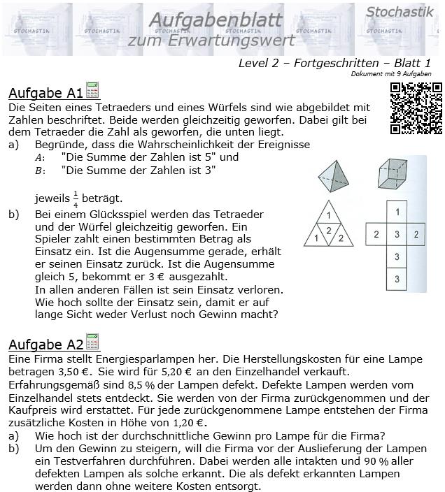 Erwartungswert Aufgabenblatt Fortgeschrittten Level 2 / Blatt 1